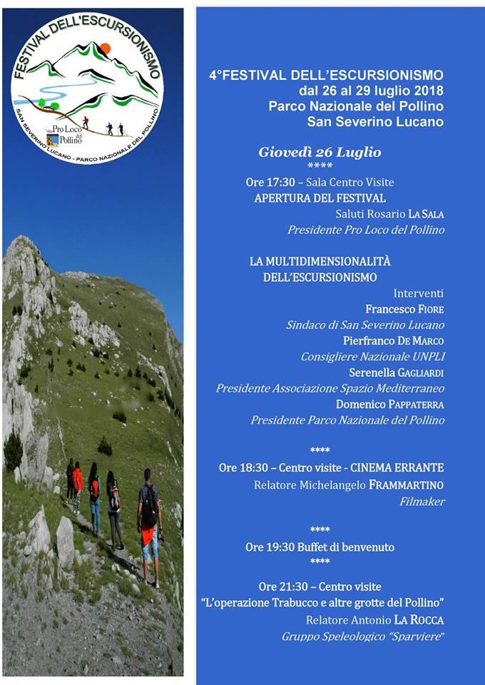 26 luglio 18 inizia il festival escursionismo